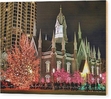 Wood Print featuring the photograph Salt Lake Temple - 3 by Ely Arsha