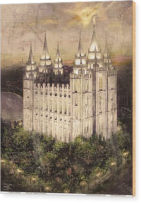 Salt Lake Temple In The Evening  Antique Pink Wood Print