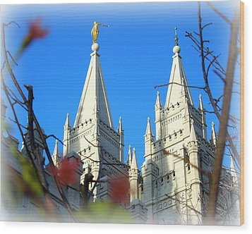 Wood Print featuring the photograph Salt Lake Temple Top by Heidi Manly