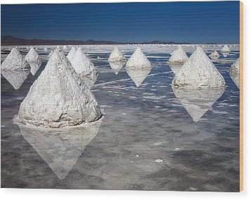Salt Pyramids Wood Print by Kim Andelkovic