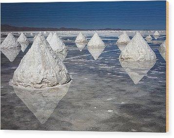 Salt Pyramids Wood Print