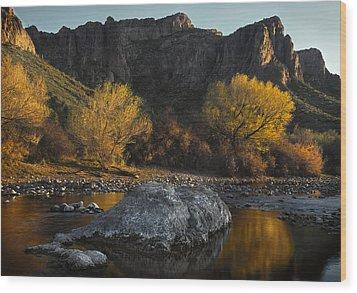 Salt River Fall Foliage Wood Print by Dave Dilli