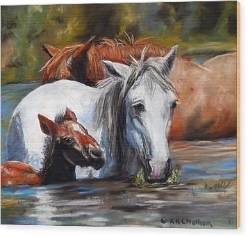 Wood Print featuring the pastel Salt River Foal by Karen Kennedy Chatham