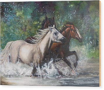 Wood Print featuring the painting Salt River Horseplay by Karen Kennedy Chatham