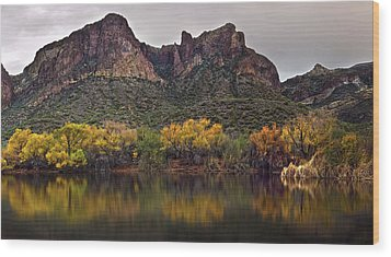 Salt River Mountain Reflections Wood Print by Dave Dilli