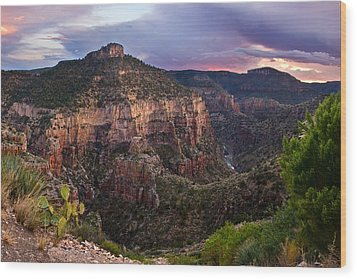 Salt River Purple Sunset Wood Print by Dave Dilli