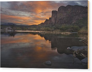 Salt River Sunset Wood Print