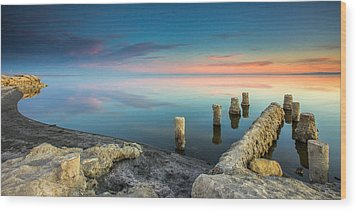 Wood Print featuring the photograph Salton Sea Reflections by Robert  Aycock