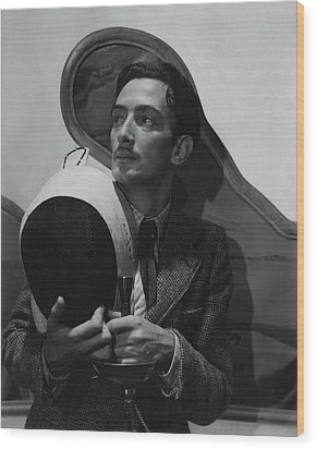Salvador Dali Holding Fencing Equipment Wood Print by Cecil Beaton