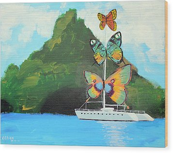 Salvador Dali Inspired Butterfly Catamaran Wood Print by Ethan Altshuler