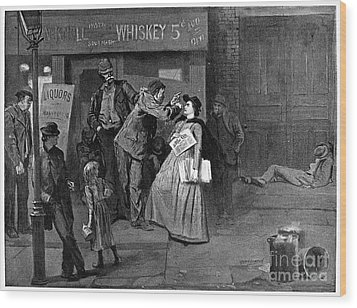 Salvation Army In Slums Wood Print by Granger