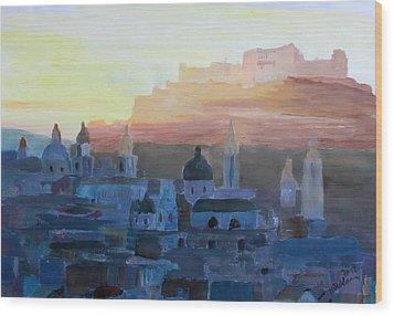 Salzburg At Dusk Wood Print by M Bleichner