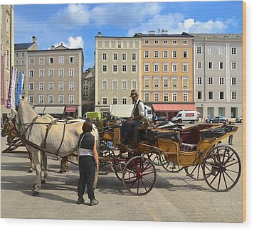 Salzburg Cabbie Wood Print by Marty  Cobcroft