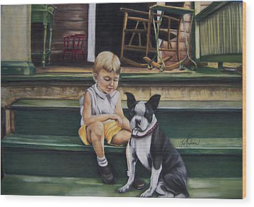 Sam And Gippy Wood Print by Leah Wiedemer
