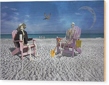 Sam And His Friend Visit Long Boat Key Wood Print by Betsy Knapp