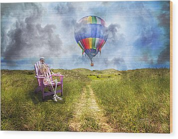 Sam Contemplates Ballooning Wood Print by Betsy Knapp