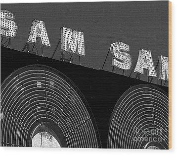 Sam The Record Man At Night Wood Print