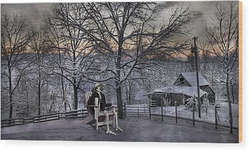 Sam Visits Winter Wonderland Wood Print by Betsy Knapp