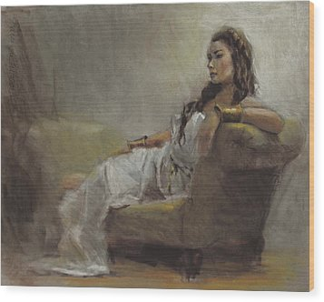 Samantha Painted From Life Wood Print by Karen Whitworth