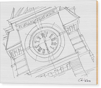 Wood Print featuring the drawing Samford Clock Sketch by Calvin Durham