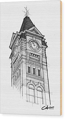 Samford Hall Wood Print by Calvin Durham