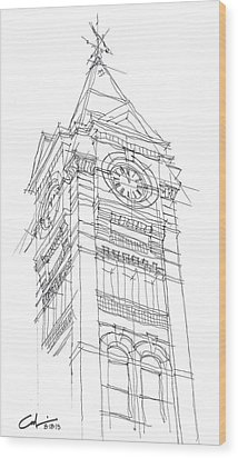 Wood Print featuring the drawing Samford Hall Sketch by Calvin Durham