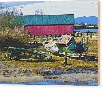 Samish Island Abandoned Boat Wood Print by John Parks
