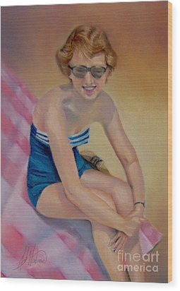 Sam's Pin-up Wood Print by Leah Wiedemer