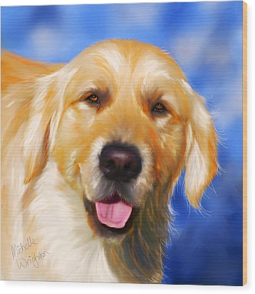 Happy Golden Retriever Painting Wood Print by Michelle Wrighton