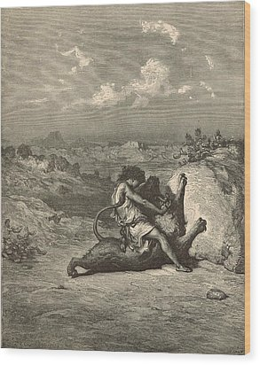 Samson Slaying The Lion Wood Print by Antique Engravings