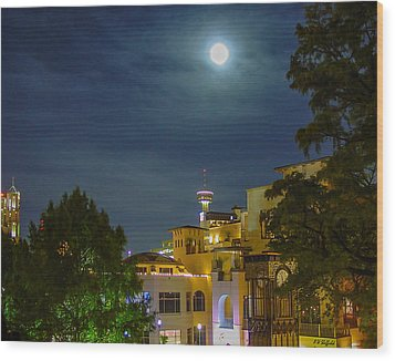 San Antonio Cityscape Wood Print by Allen Sheffield