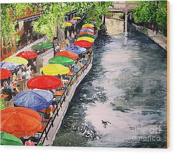 Wood Print featuring the painting San Antonio River Walk by Tom Riggs