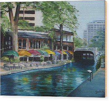 San Antonio Riverwalk Cafe Wood Print by Stefon Marc Brown