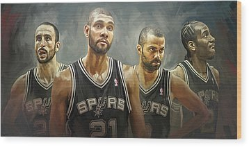 San Antonio Spurs Artwork Wood Print by Sheraz A