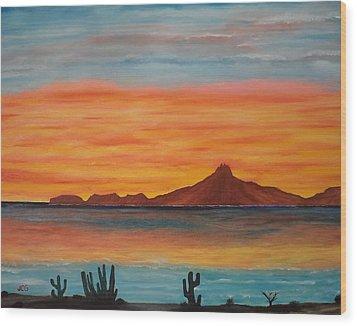 San Carlos Bay Mexico Wood Print by Jorge Cristopulos