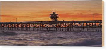 San Clemente Municipal Pier In Sunset Wood Print by Richard Cummins
