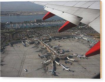 San Diego Airport Plane Wheel Wood Print