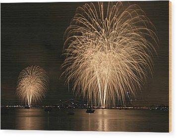 San Diego Bay Fireworks Wood Print