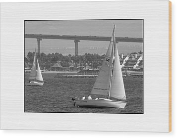Wood Print featuring the digital art San Diego Bay Sailing 1 by Kirt Tisdale