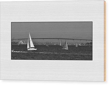 Wood Print featuring the digital art San Diego Bay Sailing 2 by Kirt Tisdale