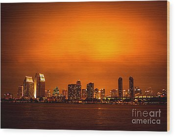 San Diego Cityscape At Night Wood Print by Paul Velgos