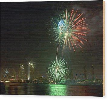 San Diego Cityscape Fireworks Wood Print