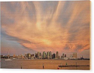 San Diego Cloud Burst Wood Print by Peter Tellone