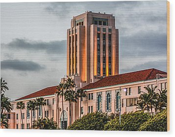 Wood Print featuring the digital art San Diego County Administration Center by Photographic Art by Russel Ray Photos