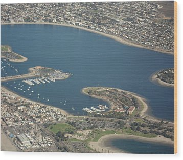 San Diego From Above Wood Print by Val Oconnor