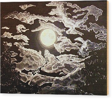 San Diego Moonlight Wood Print