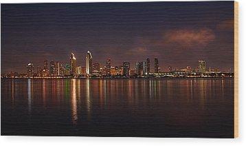 San Diego Night Skyline Wood Print by Peter Tellone