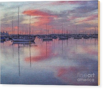 Wood Print featuring the digital art San Diego - Sailboats At Sunrise by Lianne Schneider