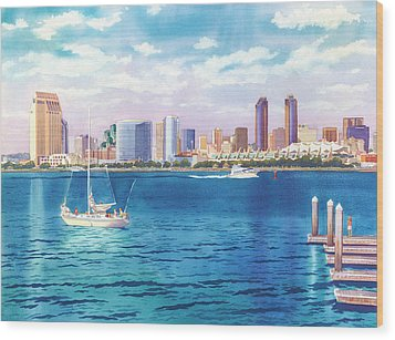 San Diego Skyline And Convention Ctr Wood Print by Mary Helmreich