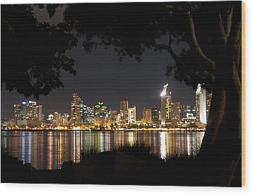 Wood Print featuring the photograph San Diego Skyline Framed 1 by Lee Kirchhevel